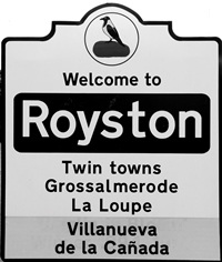 Royston road sign